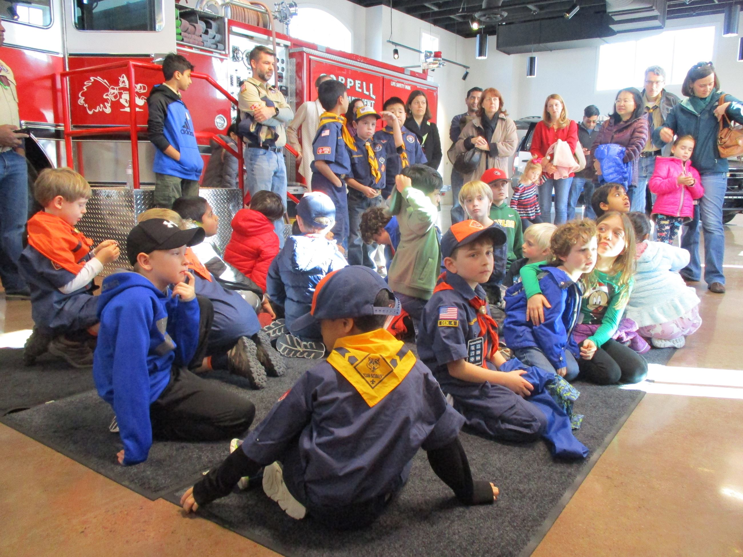 Scouts on Ground at Fire Department Presentation