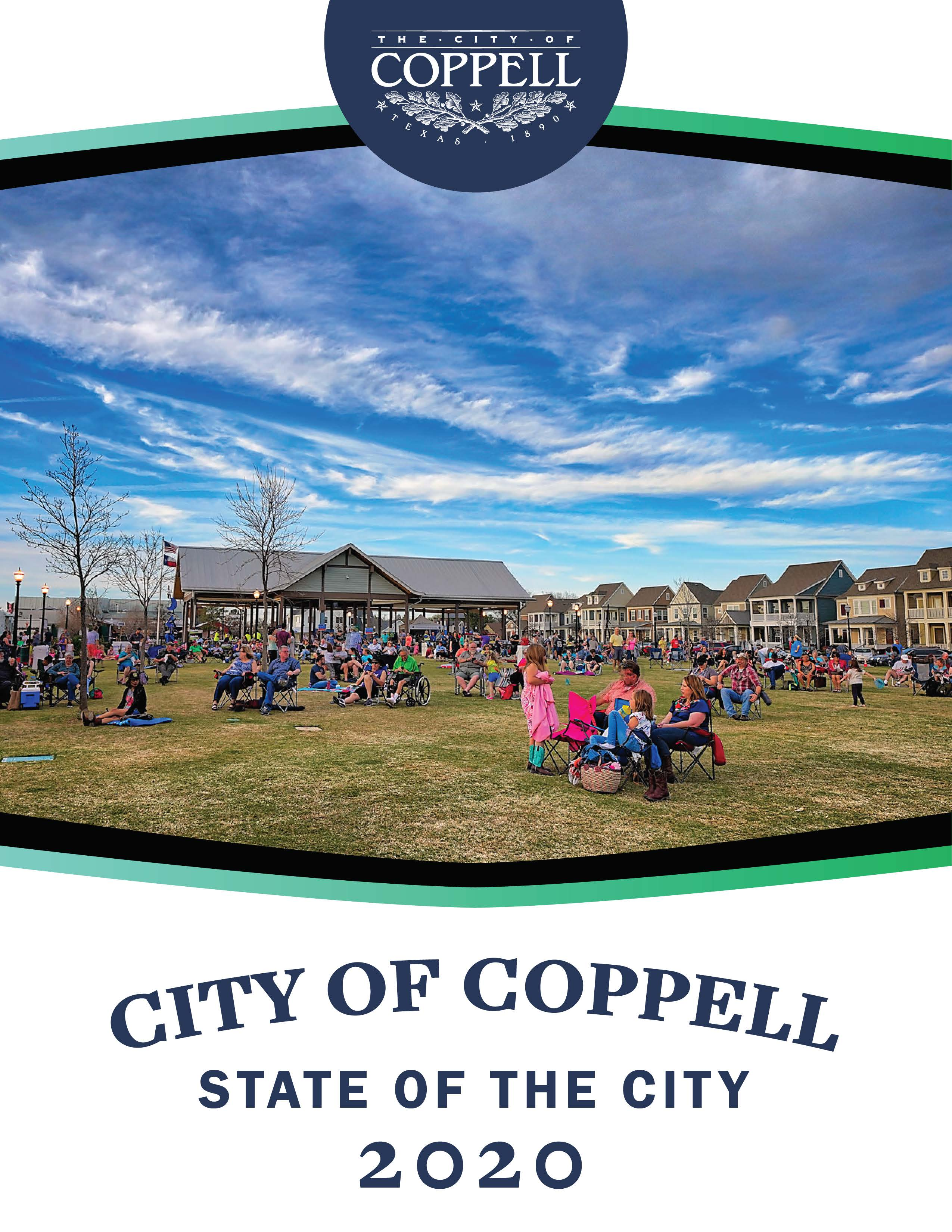 'State of the City 2020' overlaid on image of Old Town Coppell with people sitting on lawn